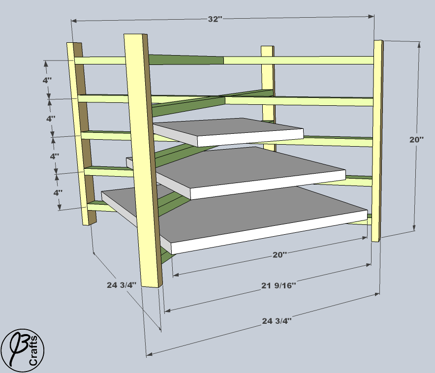 Drying Rack Assembled Dimensions