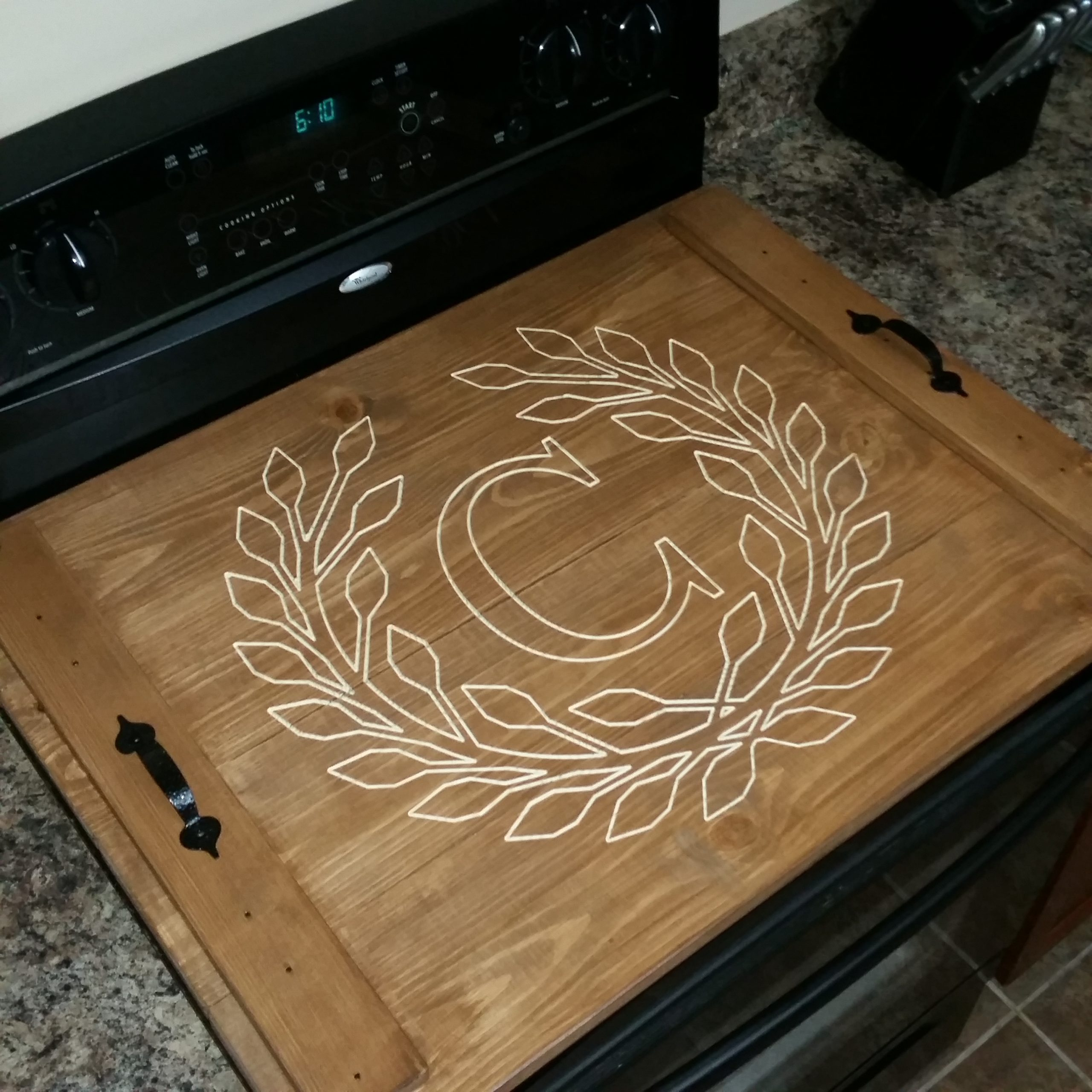 Stove Top Cover in Colonial Pine Stain with Personalized Carve