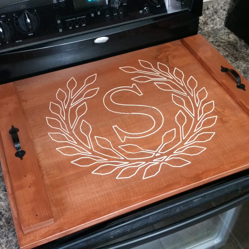 Terra Cotta Stain with S and wreath