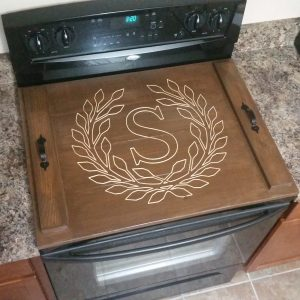 American Walnut Stain Stove Top Cover with S and wreath