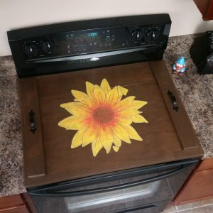 Painted Sunflower Design on Stove Top Cover