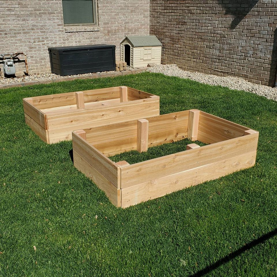 A pair of cedar wood raised beds for your garden